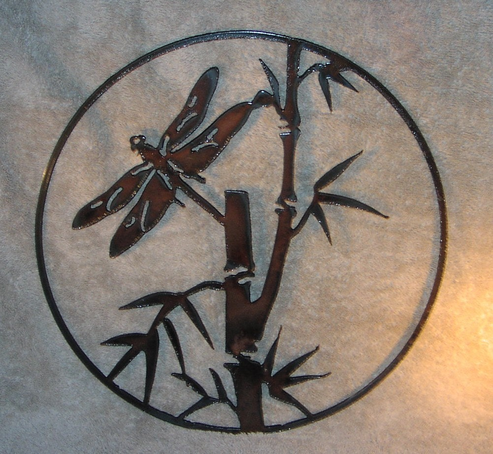 Dragonfly in the bamboo metal wall decor suitable for indoors for Dragonfly wall art