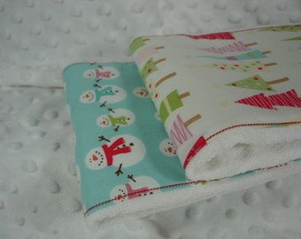Set of Two Burp Cloths with Matching Bib - Snowman