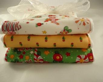 Set of Three Burp Cloths for Christmas