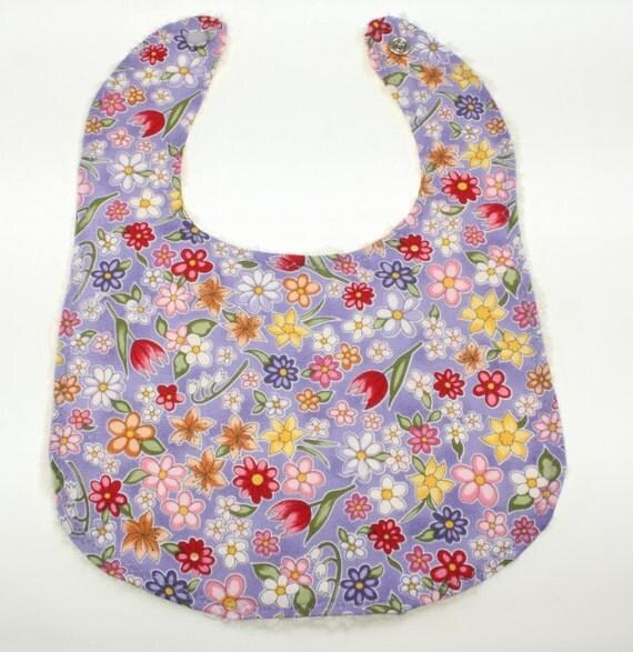SALE! -Reduced Lavender Flowers Baby Bib