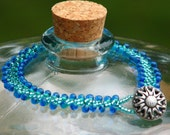 Bead Woven Bracelet in Blue and Green (462S)