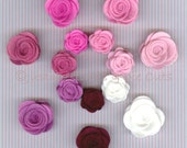 Wool Felt Rolled Roses - Pinks - Set of 14 Pieces