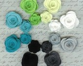 Felt Rolled Roses - Wool/Rayon Felt - Set of 16 Pieces