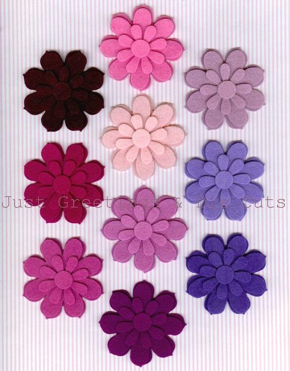 Felt Flower Shapes - 100% Wool Felt - Set of 40 Die-Cut Pieces