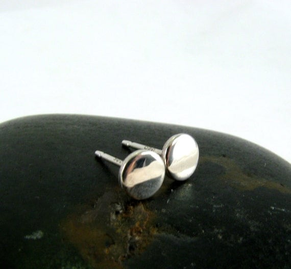 Round Sterling Silver Handcrafted Stud Earrings 5mm - The Little Things