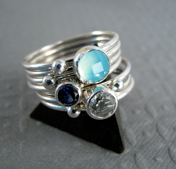 Gemstone Stacking Rings - Crisp - Chalcedony, White Topaz and Lab Sapphire