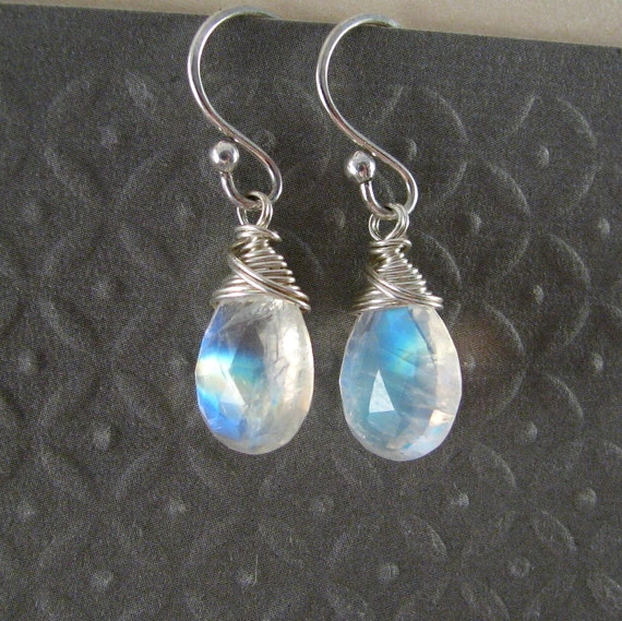 Rainbow Moonstone Earrings - Large With Lots of Fire