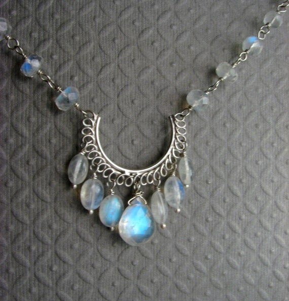 Moonstone Necklace - Rainbow Moonstone Necklace in Sterling Silver - Blue Necklace - Blue Moonstone