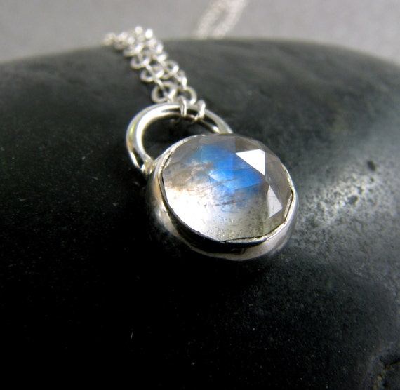 Rainbow Moonstone Pendant Necklace in Sterling Silver