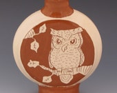 Flattened Bottle with Owl and Branches-CJ
