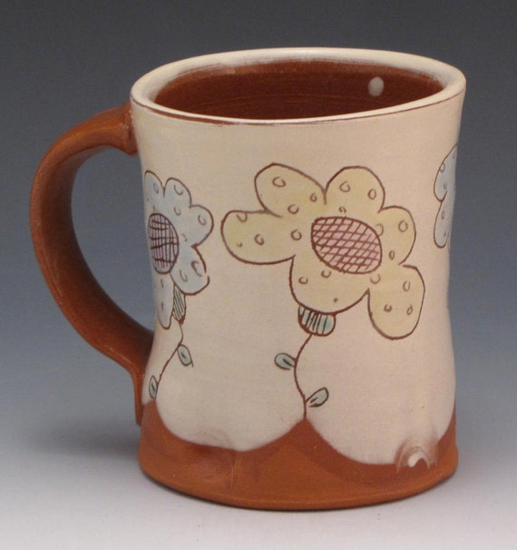 Mug with Blue Pink and Yellow Flowers