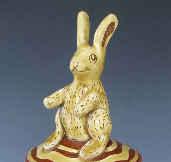 Lidded Jar with Amber Rabbit and Stripes