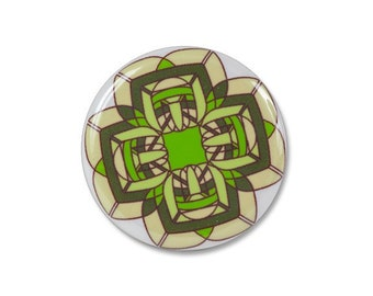 Green flower pinback button, gift under 5
