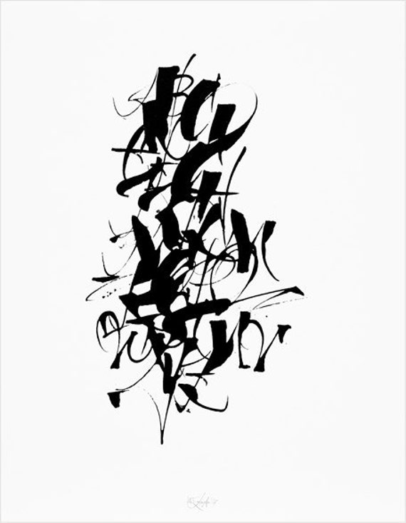 Calligraphy Alphabet print, letter art, white and black poster, home decor, wall art