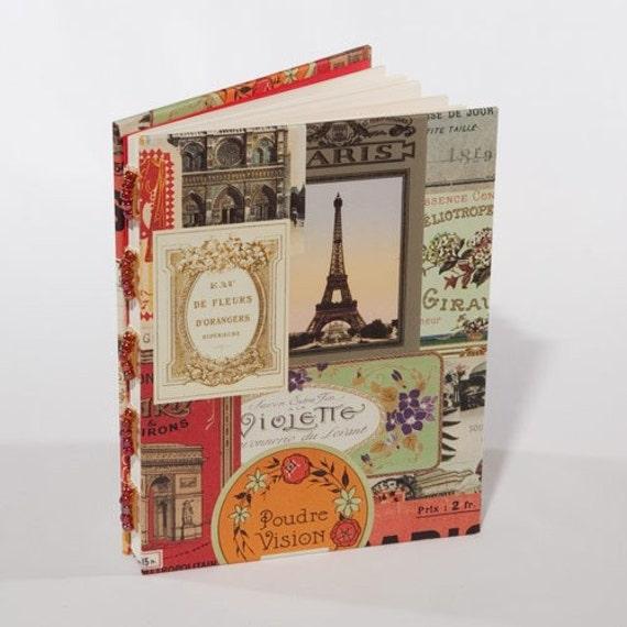 Souvenir de Paris - Blank beaded journal with Parisian motif