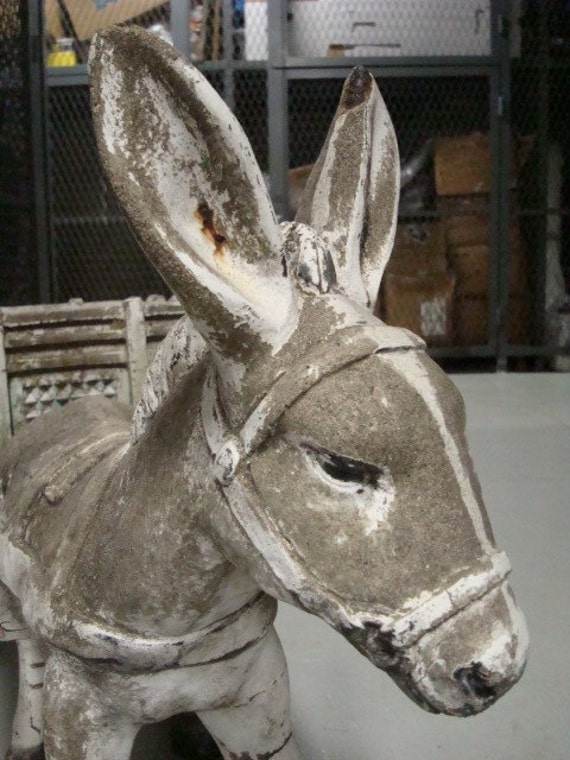 Cute Shabby Chic Chippy Paint Donkey And Cart Vintage Garden