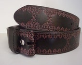 """Brown Embossed Belt Strap- Snap On- Tooled Style Design- Mens Womens- 1.5"""" 38mm- 26 28 30 31 32 33 34 35 36 37 38 39 40 42 -25+ STYLES AVAIL"""