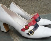 ReTrO Heel Shoe Pumps Women RED WHITE BLUE Vintage 1960s Leather Nautical Patriotic 7.5 38 Jacqueline Designer Originals
