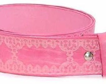 "Pink Belt Strap with Snaps- Embossed Tooling Style Design- Removable- 1.5"" 38mm Width- 26 28 30 32 36 38 40 42 44 45- 25+ OTHER STYLES AVAIL"