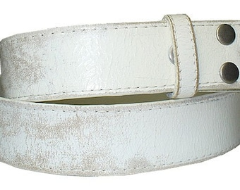"White Distressed Leather Belt Strap - Snap On Removable 1.5"" 38mm -Men Women- 30 32 33 34 35 36 37 38 39 40 41 42 44 -25+ OTHER STYLES AVAIL"