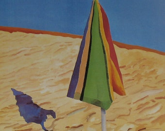 Beach Umbrella Book Plate Art Print - California Summer Ocean Scene - LA County Museum of Art Exhibit Poster Ad Reprint - UK Artist Hockney