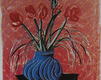 Amaryllis in Vase Art Print - Red Blue Modern Flower Painting Bold Colors - 1980s Sweden Exhibit Poster Book Plate- David Hockney UK Artist