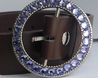 Sparkly Swarovski Crystal Belt Buckle - Ladies Womens Round Rhinestone Buckle - Tanzanite Purple shown silver - Many Other Color Options