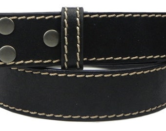 "Black Leather Belt Strap - Snap On - Contrast Stitches- 1.5"" -Men Women 31 32 33 40 41 42 44 45 46 47 - 25+ OTHER BELT STYLES Avail"