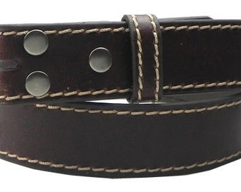 "Dark Brown Leather Belt Strap- Snap On Removable - Contrasting Stitches - 1.5"" 38mm - Men Women - 37 38 39 40 41 42 - 25+ OTHER STYLES AVAIL"