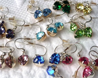 Girls Swarovski Crystal Heart Earrings -Sterling Silver Ear Wires -Small Dangle Drops - 8 COLOR CHOICES- Birthday Valentine's Day Gift Idea