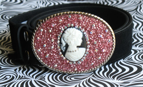 Chic PINK Cameo BELT BUCKLE Black Silver Women