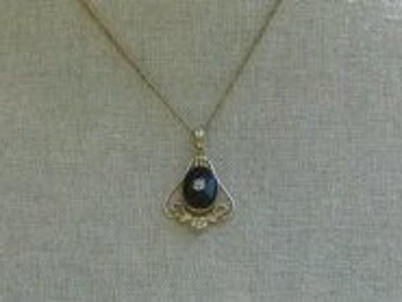 vintage LAVALIERE Necklace Pendant Gold Black VAN DELL 12k gf