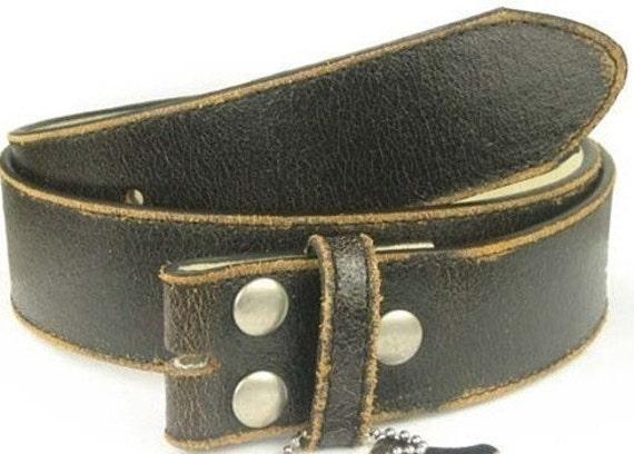 "Distressed Black Leather Belt Strap- Snap On Changeable- Men Women- 1.5"" - 30 31 2 33 34 35 36 38 39 40 42 44 46 47 xl xxl- 25+ STYLES AVAIL"