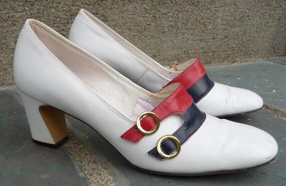 ReTrO Heel Shoe Pumps Women RED WHITE BLUE Vintage 1960s Leather Nautical Patriotic 7.5 38 Jacqueline Designer Originals