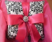 YOUR CHOICE RIBBON Color--Damask Ringbearer Pillow Black White Madison Fuchsia Hot Pink or your choice of ribbon color