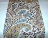 PAISLEY TABLE LINENS  Chocolate Brown and Tan Paisley Table Runner, or Napkins or Placemats With aqua Blue, Sage Green
