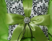 Damask Ringbearer Pillow Black White Madison Lime Green Chartreuse or your choice of ribbon color