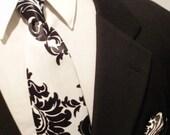 SATIN DAMASK HANKY Or Necktie Black White Wedding All Sizes Infant Toddler Boy Men Big and Tall