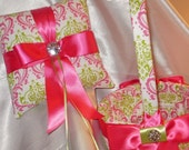 DAMASK BASKET or PILLOW Ringbearer Ring Pillow and Flower Girl Basket Madison Candy Pink Fuchsia Lime on White