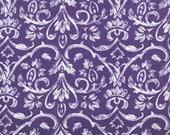 "SAMPLE SALE RUNNER 43""  White Damask on Purple  Wedding Bridal Large Print Tuscany"