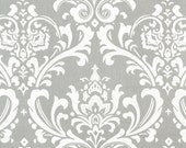 """TABLE SQUARE Grey Damask Table Squares  Osborne 20"""" storm gray and white"""