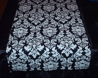 "X-LONG DAMASK RUNNERS--108""  Damask Table Runners Black and White Dandy Damask Fabric"