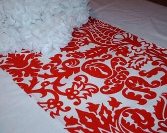 RED DAMASK TABLE Runner red and white  damask  Print, Wedding bridal runner, Table Decor, Home Decor