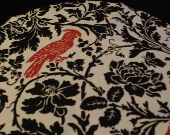"""SALE PRICED to GO Table Rounds for Centerpieces , 72"""" Runner White Leaf Damask Round with Red  Bird 20"""" Rpst"""