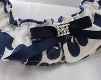 DAMASK GARTER SET Colors Two pc set Amsterdam Navy, Yellow, Turquoise/Teal/, Fuchsia with Your choice of ribbon color