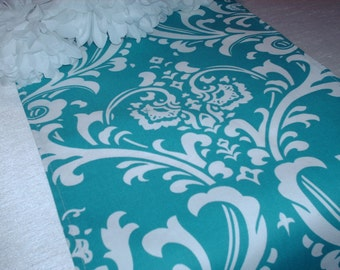 TURQUOISE DAMASK TABLE Runner, Napkins, Placemats  Damask Osborne White on Turquoise/Teal  Wedding Bridal