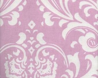 """96"""" DAMASK RUNNER Light Pink Damask Osborne White on Pink Table Runner Wedding Bridal norenew"""