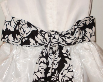 SALE SASH ONLY Flower girl or bridesmaid Dandy damask black white  2-3 inches wide 80 to 100 inches- long