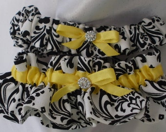 DAMASK GARTER SET Madison Two pc set Black and White with Yellow or Your Choice of Accent Ribbon Color