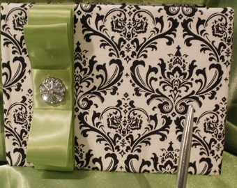 GUEST BOOK & PEN Set Damask  Black and White With Lime Chartreuse or Your Choice of color Ribbon
